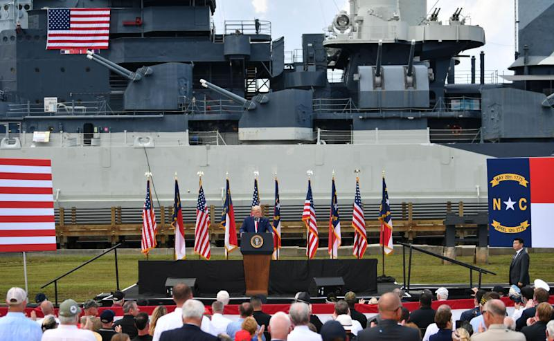 Trump makes a speech at the USS Battleship North Carolina in Wilmington to commemorate the 75th Anniversary of the end of World War II on Wednesday. Source: Getty
