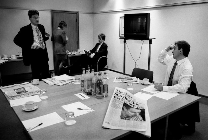 Blair works on a speech with David Miliband before election day