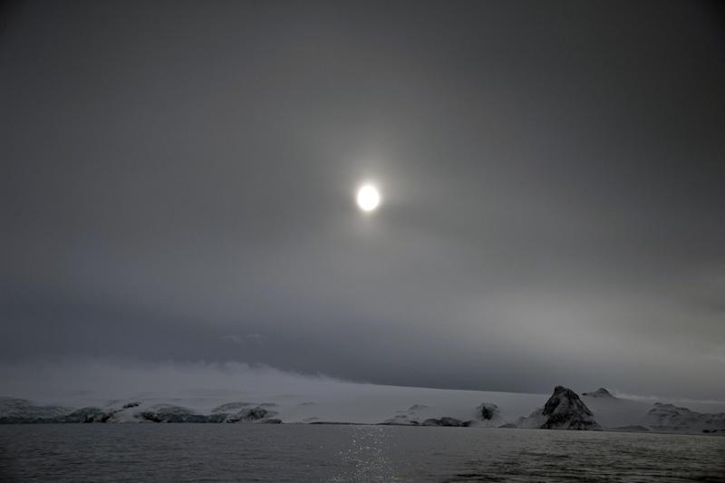 King George Island, Antarctica, early in the morning after a snow shower, on March 13, 2014