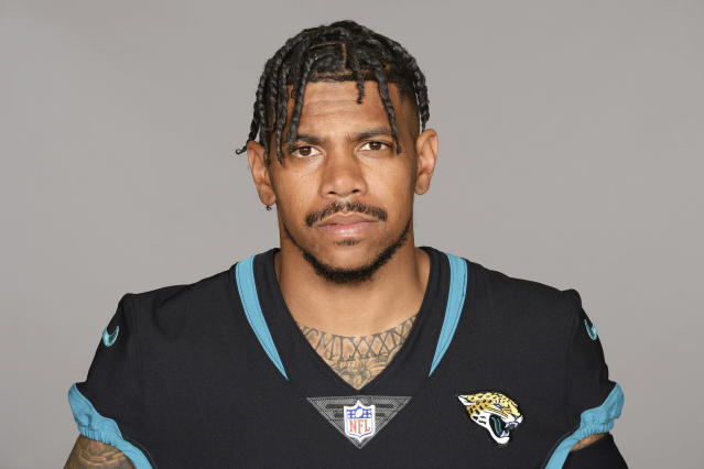 FILE - This is a 2019 photo shows Terrelle Pryor Sr. of the Jacksonville Jaguars NFL football team. Allegheny County, Pa., District Attorney spokesman Mike Manko confirmed Saturday, Nov. 30, 2019, that Pryor, a free agent, was the victim of a stabbing, but said he had no other information, such as Pryor's condition or where and when the stabbing occurred. (AP Photo/File)