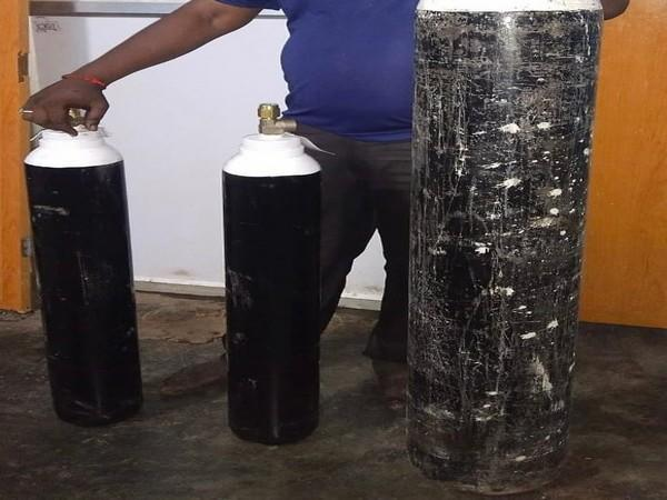 Oxygen cylinders seized by the Bengaluru Central Crime Branch. (Image Source: @ips_patil)