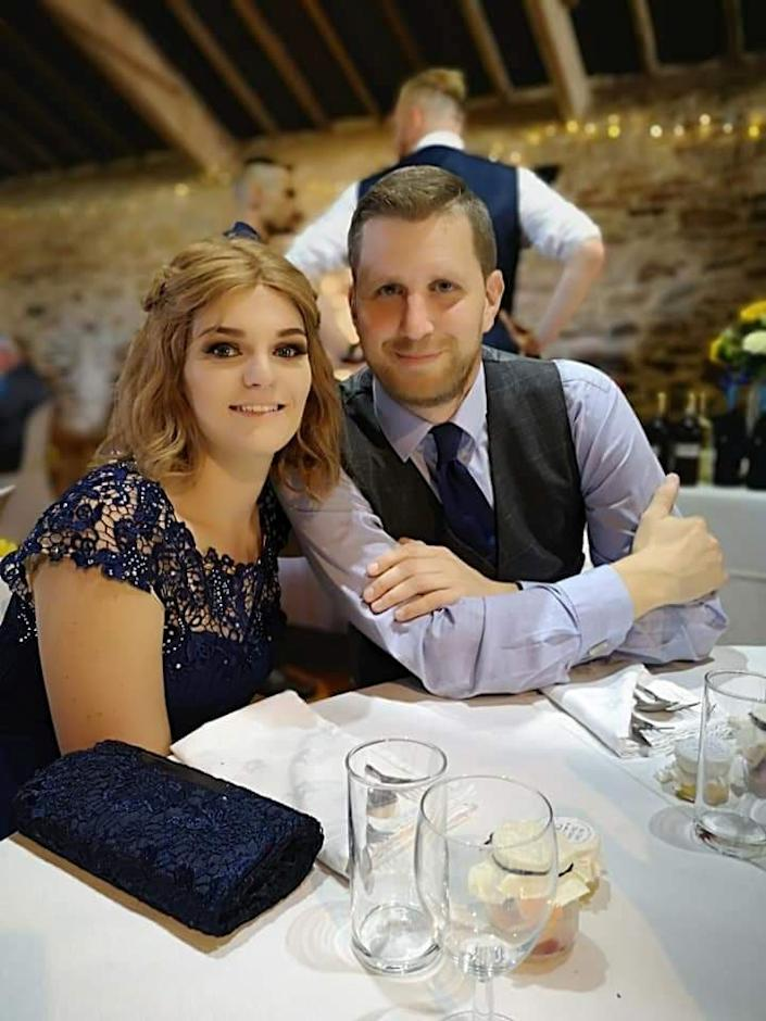 ***EMBARGOED 2PM BST / 10AM EST OCTOBER 29 2019***    (L-R) Claire Curtis and Tom Sutherland. Claire Curtis, 30, who believed her headaches and general lethargy were down to 'baby brain' was shocked to discover she actually had an incurable brain tumour. See SWNS story SWOCbabybrain. A new mum who put her headaches and tiredness down to 'baby brain' was devastated to discover she actually had an incurable brain tumour. Claire Curtis, 30, had been experiencing headaches and feeling tired for a months before her diagnosis but just put it down to the stress of being a new mum. Doctors prescribed her medication for migraines, but when Claire started vomiting in the early hours of the morning, she knew it was something more sinister. An MRI scan revealed that Claire had an incurable brain tumour the size of an orange, and she is now battling the cancer to get more time with her family.