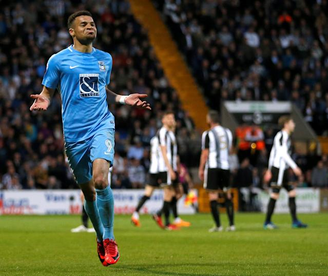 """Soccer Football - League Two Play Off Semi Final Second Leg - Notts County vs Coventry City - Meadow Lane, Nottingham, Britain - May 18, 2018 Coventry City's Maxime Biamou celebrates scoring their third goal Action Images/Carl Recine EDITORIAL USE ONLY. No use with unauthorized audio, video, data, fixture lists, club/league logos or """"live"""" services. Online in-match use limited to 75 images, no video emulation. No use in betting, games or single club/league/player publications. Please contact your account representative for further details."""