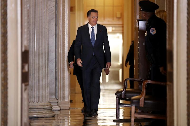 WASHINGTON, DC - JANUARY 23: Sen. Mitt Romney (R-UT) heads back into the Senate Chamber following a break in President Donald Trump's impeachment trial at the U.S. Capitol January 23, 2020 in Washington, DC. The House impeachment managers are presenting their case to senators on the third full day of the trial. (Photo by Chip Somodevilla/Getty Images)