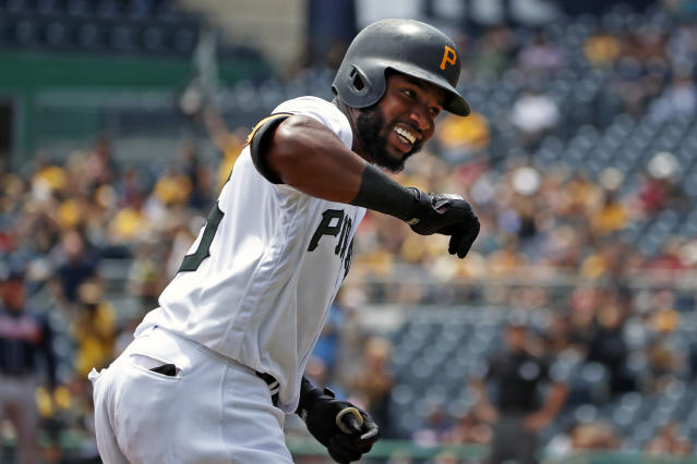 Pittsburgh Pirates' Gregory Polanco rounds third after hitting a solo home run off Atlanta Braves starting pitcher Mike Foltynewicz during the second inning of a baseball game in Pittsburgh, Thursday, June 6, 2019. (AP Photo/Gene J. Puskar)