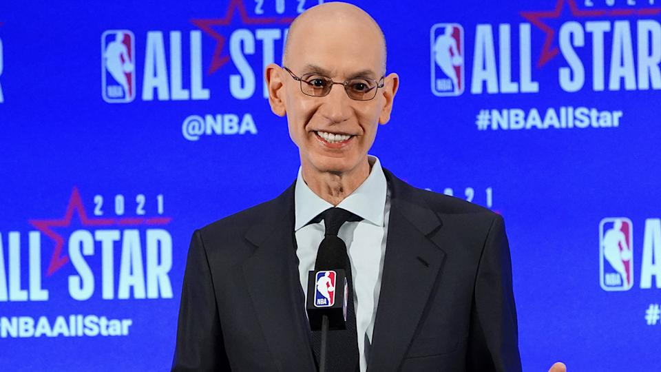 NBA commissioner Adam Silver says he's optimistic about the take-up of the coronavirus vaccine among NBA players and staff. (Photo by Jesse D. Garrabrant/NBAE via Getty Images)