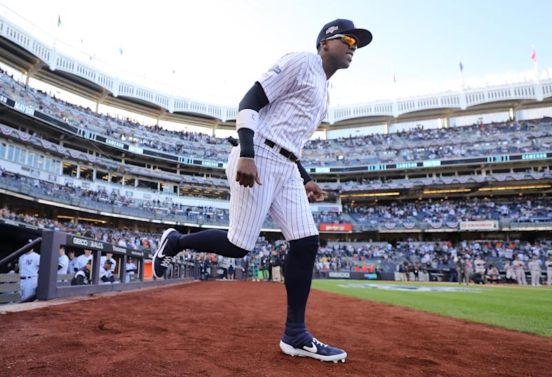 NEW YORK, NEW YORK - OCTOBER 15: Cameron Maybin #38 of the New York Yankees takes the field as he is introduced prior to game three of the American League Championship Series against the Houston Astros at Yankee Stadium on October 15, 2019 in New York City. (Photo by Elsa/Getty Images)