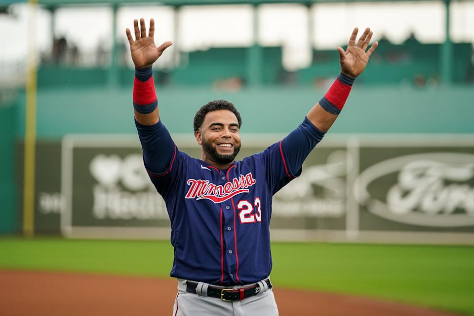 FORT MYERS, FL- MARCH 06: Nelson Cruz #23 of the Minnesota Twins looks on during a spring training game against the Boston Red Sox on March 6, 2021 at the JetBlue Park in Fort Myers, Florida. (Photo by Brace Hemmelgarn/Minnesota Twins/Getty Images)