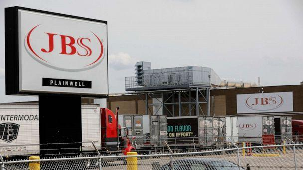 PHOTO: The JBS meat placing plant stands in Plainwell, Mich.  June 2, 2021. (Jeff Kowalsky/AFP via Getty Images)