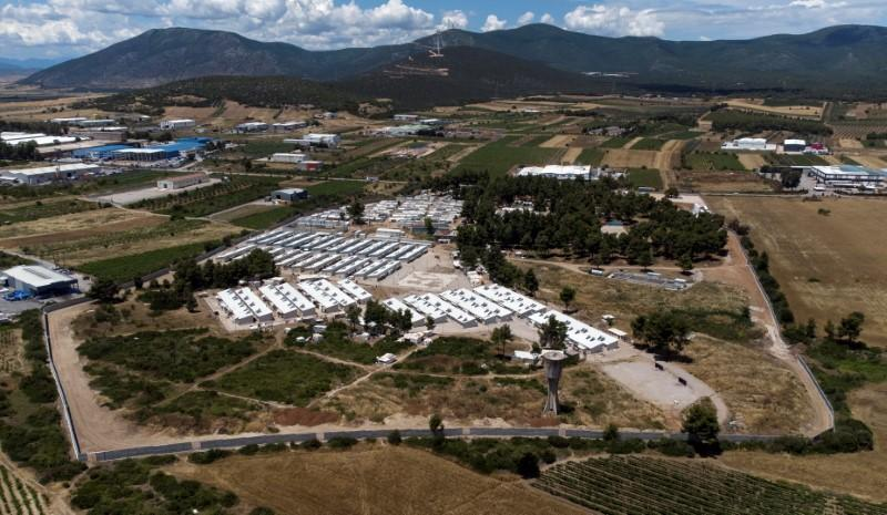 Aerial view of the Ritsona camp for refugees and migrants