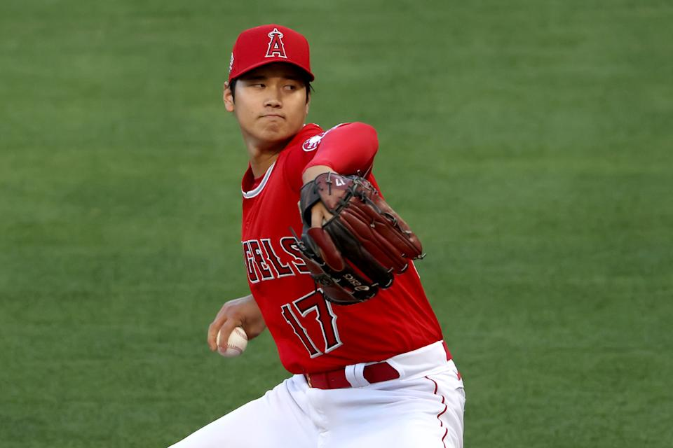 ANAHEIM, CALIFORNIA - APRIL 20: Shohei Ohtani #17 of the Los Angeles Angels pitches during the first inning of a game against the Texas Rangers at Angel Stadium of Anaheim on April 20, 2021 in Anaheim, California. (Photo by Sean M. Haffey/Getty Images)