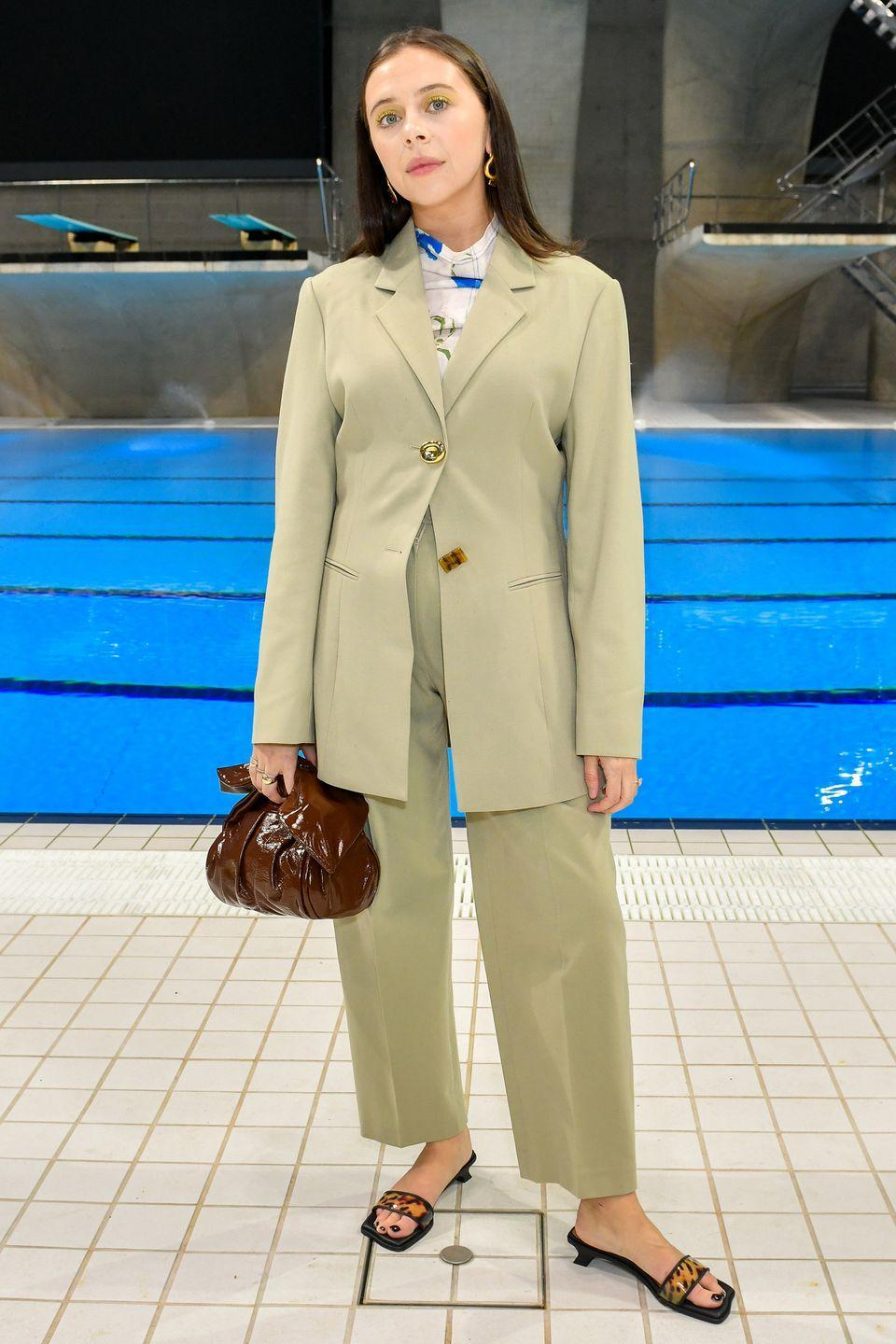 <p><strong>19 September </strong></p><p>Bel Powney dressed in a stylish Rejina Pyo suit to sit front row at the designer's fashion week show at the Aquatics Centre in London. </p>