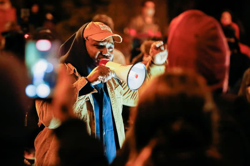 People react after the New York grand jury votes not to indict officers in Prude's death
