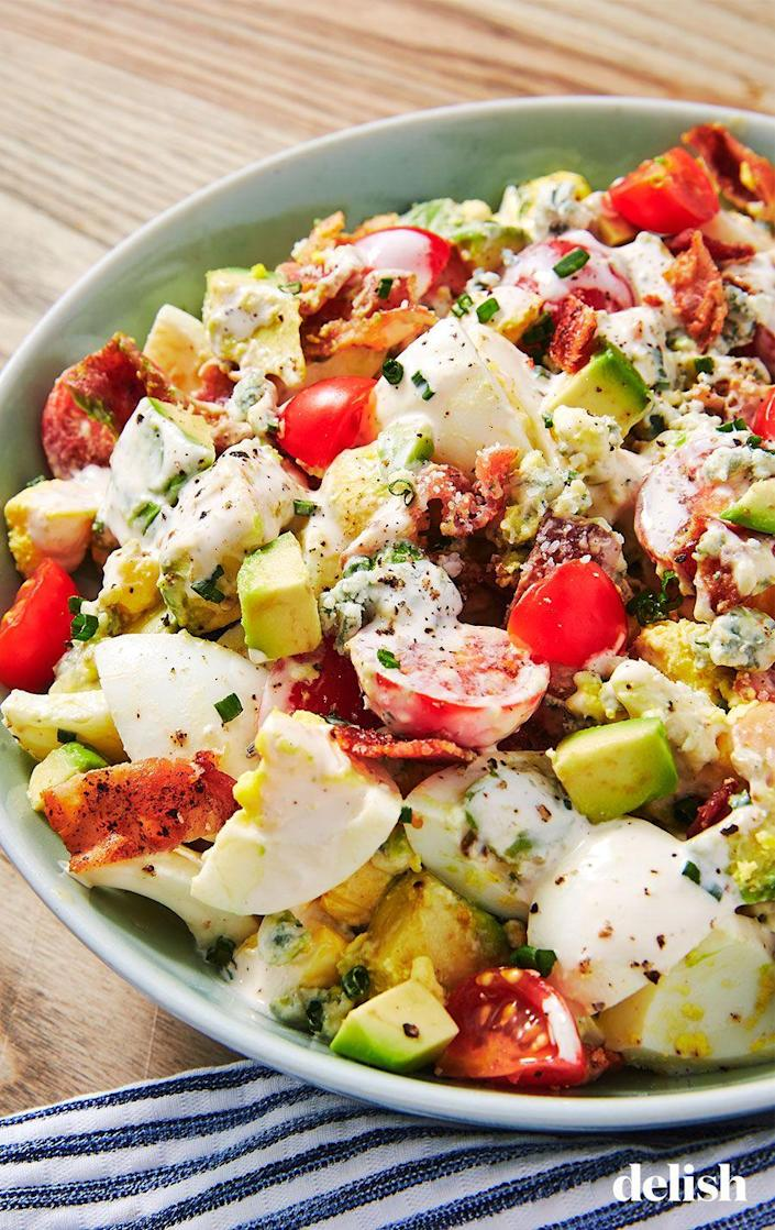 """<p>Such an easy starter to throw together. </p><p>Get the recipe from <a href=""""https://www.delish.com/cooking/recipe-ideas/a19484613/cobb-egg-salad-recipe/"""" rel=""""nofollow noopener"""" target=""""_blank"""" data-ylk=""""slk:Delish"""" class=""""link rapid-noclick-resp"""">Delish</a>.</p>"""