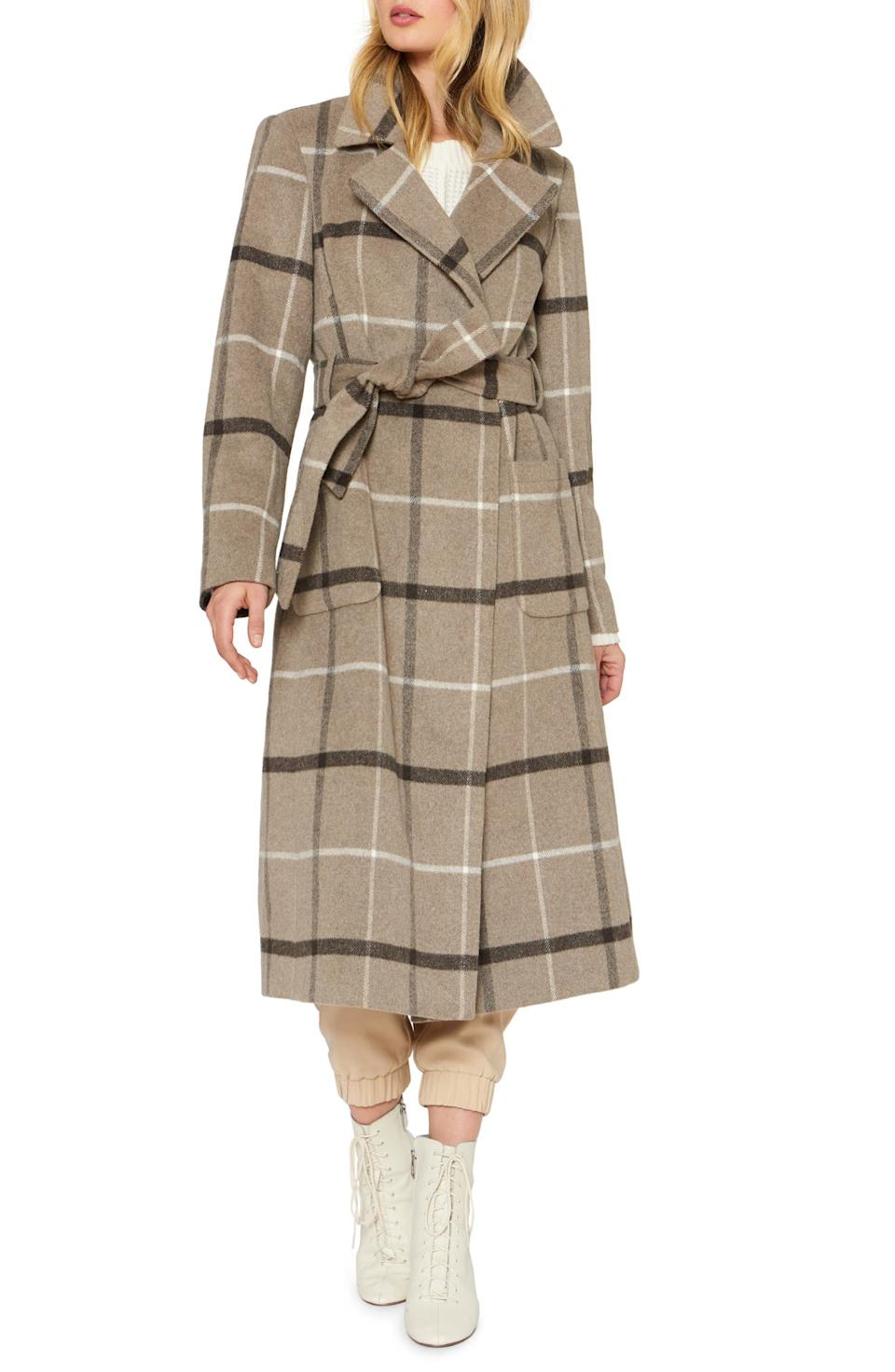 Sanctuary Plaid Wool Blend Wrap Coat. Image via Nordstrom.