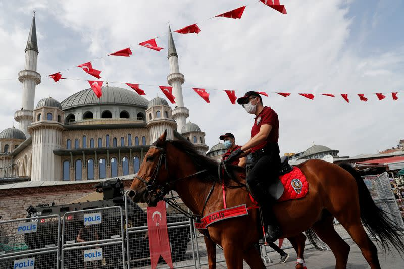 FILE PHOTO: FILE PHOTO: Members of Istanbul Police Department Mounted Unit patrol, in Istanbul