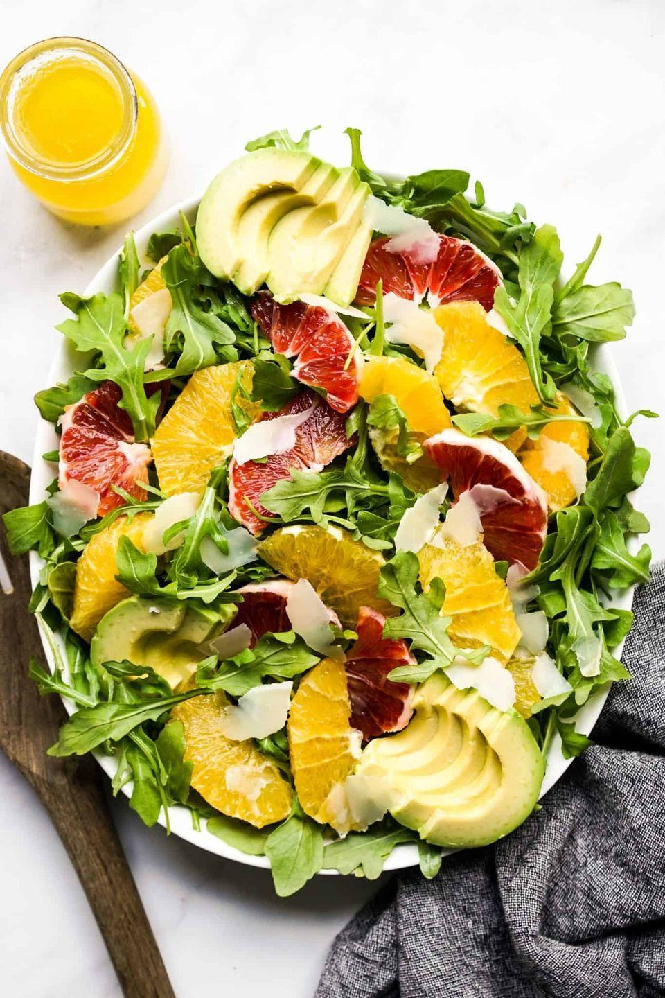 """<p>There are three types of citrus in this light and refreshing salad—oranges, blood oranges, and grapefruit. They'll add a pop of color to your Thanksgiving table.</p><p><strong>Get the recipe at <a href=""""https://www.joyousapron.com/avocado-orange-salad/"""" rel=""""nofollow noopener"""" target=""""_blank"""" data-ylk=""""slk:Joyous Apron"""" class=""""link rapid-noclick-resp"""">Joyous Apron</a>.</strong></p>"""