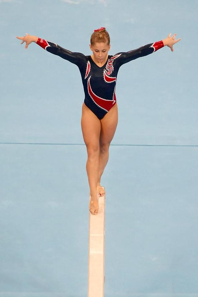 Shawn Johnson of the USA competes on the Women's Beam Final at the National Indoor Stadium on Day 11 of the Beijing 2008 Olympic Games on August 19, 2008 in Beijing, China.