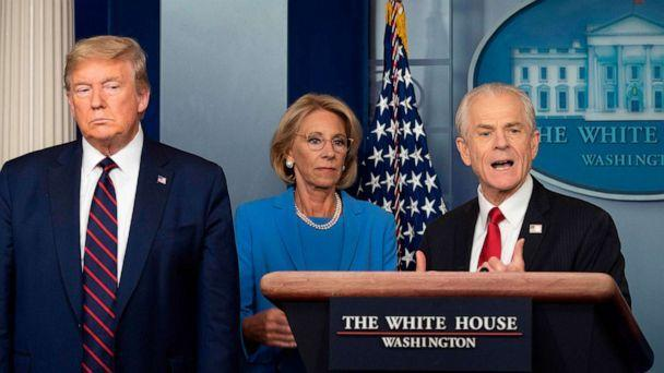 PHOTO: White House Trade and Manufacturing Policy adviser Peter Navarro speaks during the daily briefing on the novel coronavirus in the Brady Briefing Room at the White House on March 27, 2020, in Washington. (Jim Watson/AFP via Getty Images)