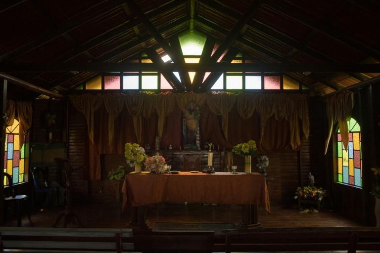 A view of the altar of the church in Congo Mirador, which is still standing but is not used (AFP/Federico PARRA)