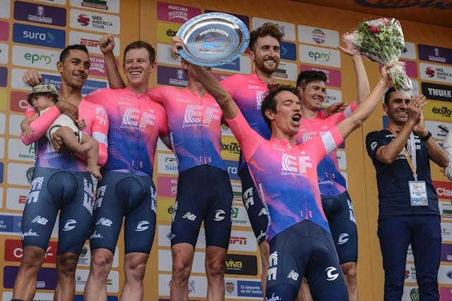 Rigoberto Uran (front) celebrates taking the Tour Colombia lead after his Education First outfit won the opening team time-trial (AFP Photo/Joaquin SARMIENTO)