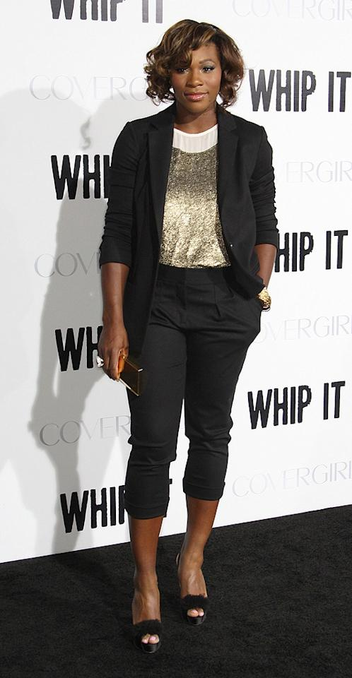 """<a href=""""http://movies.yahoo.com/movie/contributor/1804667465"""">Serena Williams</a> at the Los Angeles premiere of <a href=""""http://movies.yahoo.com/movie/1810036665/info"""">Whip It!</a> - 09/29/2009"""