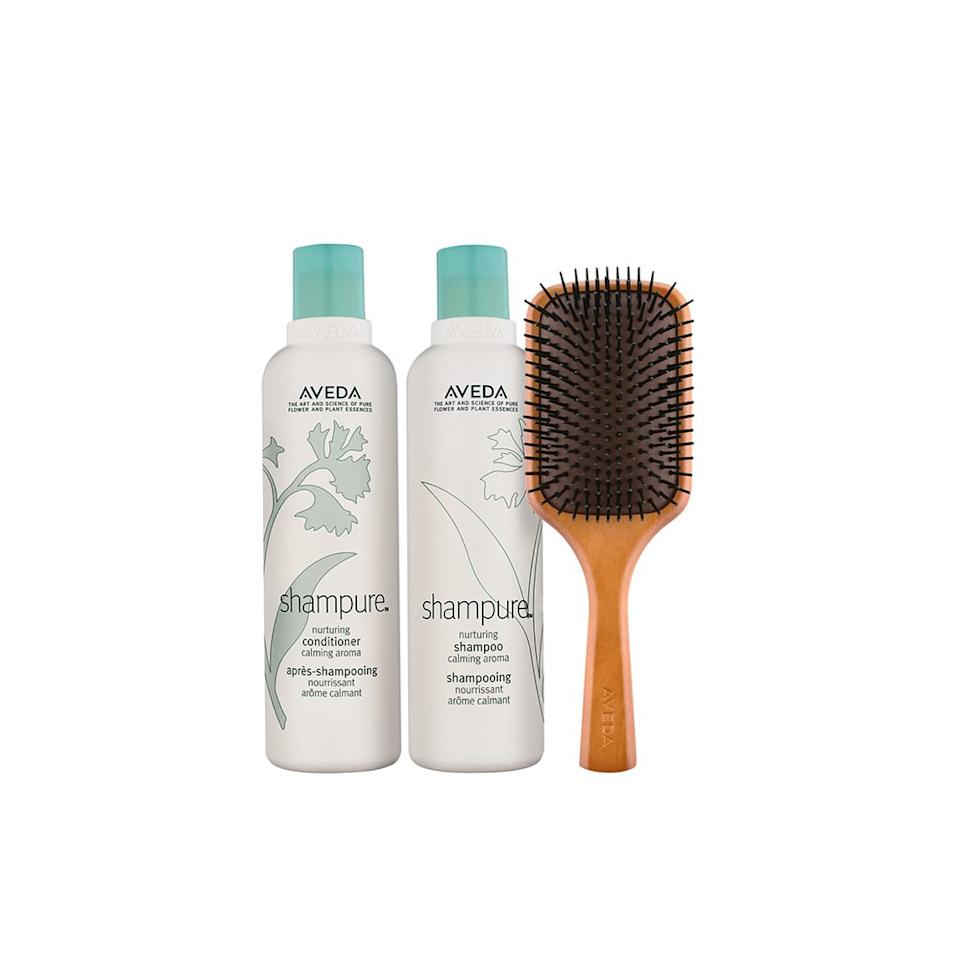 """<p>For that salon experience at home, you can get this three-piece Aveda set that includes a shampoo, conditioner, and paddle brush to gently cleanse and detangle hair.</p> <p><strong>Buy it:</strong> $39 ($61 value), <a href=""""https://click.linksynergy.com/deeplink?id=40vMHOk88JI&mid=1237&murl=https://shop.nordstrom.com/s/aveda-shampure-set-61-value/5268212?origin=category-personalizedsort&breadcrumb=Home%252FAnniversary%2520Sale%252FBeauty%2520Exclusives%252FHair%2520Care&color=none&u1=nordstromanniversarybeauty"""" rel=""""nofollow"""">shop.nordstrom.com</a></p>"""
