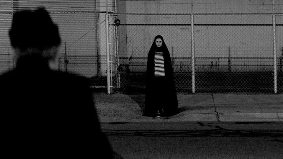 Sheila Vand as a vampire in a chador in A Girl Walks Home Alone at Night.