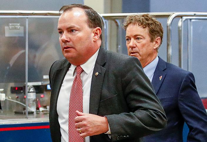 Mike Lee, left, and Rand Paul