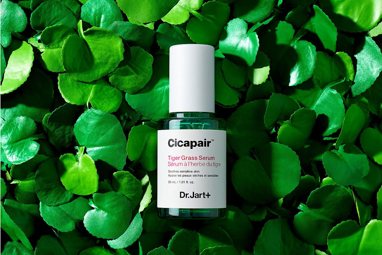 """<p>Dr. Jart's entire Tiger Grass line fights flushed cheeks, and this serum is no exception. Tiger Grass is a plant (otherwise known as centella asiatica) that calms redness and strengthens the skin's barrier over time. You'll see an instant evening in tone when you put this on.</p> <p><strong><em>Shop Now: </em></strong><em>Dr. Jart Cicapair Tiger Grass Serum, $46, </em><a href=""""https://click.linksynergy.com/deeplink?id=93xLBvPhAeE&amp;mid=2417&amp;u1=MSLBEUSoothingSerumsESNov19&amp;murl=https%3A%2F%2Fwww.sephora.com%2Fproduct%2Ftiger-grass-re-pair-serum-P423259%3Ficid2%3Dproducts%2520grid%3Ap423259%3Aproduct""""><em>sephora.com</em></a><em>.</em></p>"""