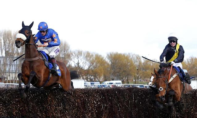 """<span class=""""element-image__caption"""">Vicente, left ridden by Sam Twiston-Davies, on his way to winning the Scottish Grand National at Ayr from Seeyouatmidnight, right, 12 months ago. </span> <span class=""""element-image__credit"""">Photograph: Rex Shutterstock</span>"""