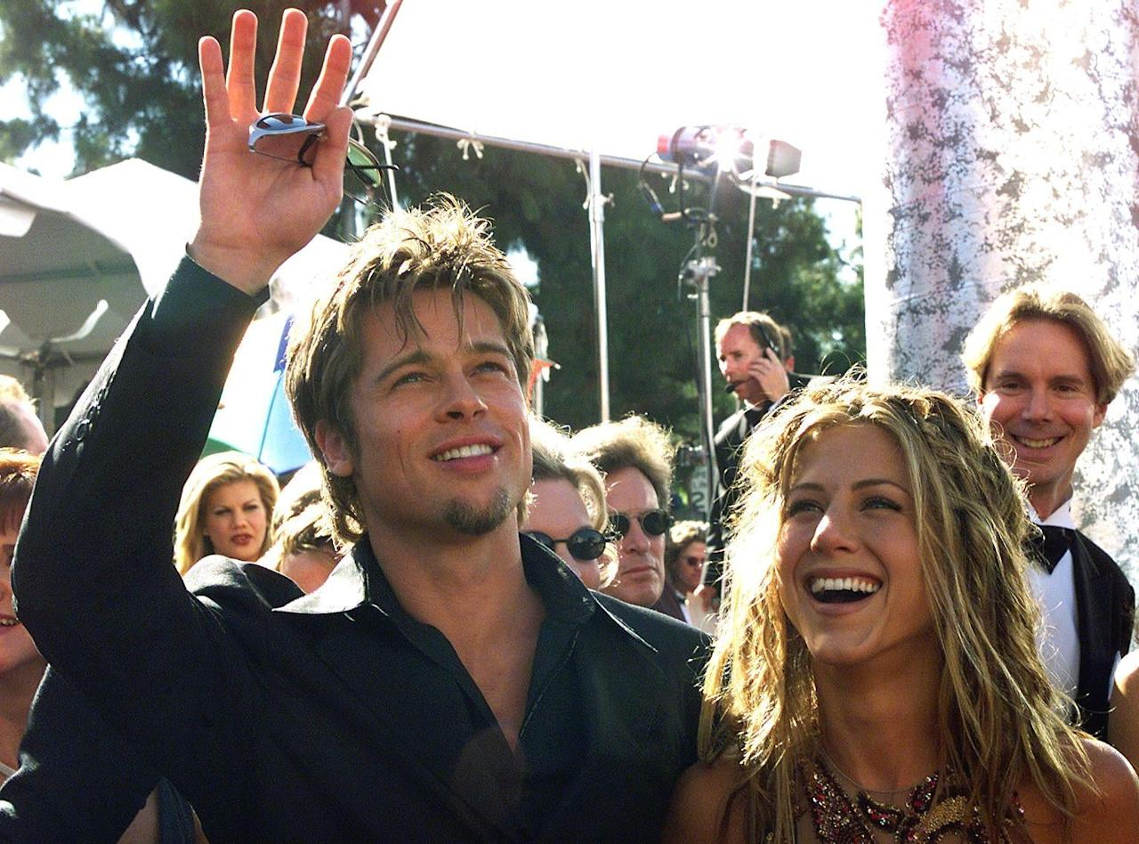 <p>After months of speculation about their potential relationship, Brad and Jen made their first red carpet appearance as a couple at the 1999 Emmy Awards, where <strong>Friends</strong> was nominated for outstanding comedy series. Though <strong>Friends</strong> lost out to <strong>Ally McBeal</strong>, Brad and Jen definitely won the award for hottest new couple.</p>