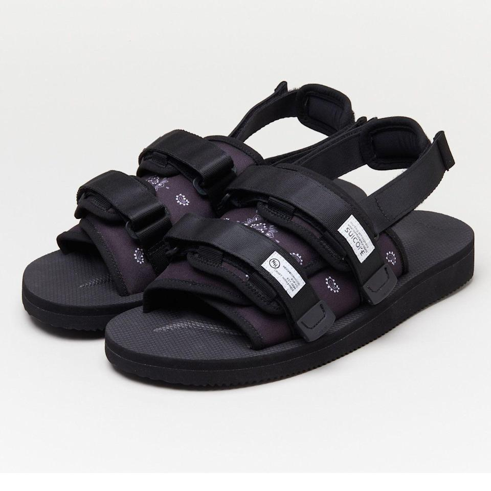"""<p><strong>Suicoke x Neighborhood</strong></p><p>suicoke.ca</p><p><strong>$220.00</strong></p><p><a href=""""https://suicoke.ca/"""" rel=""""nofollow noopener"""" target=""""_blank"""" data-ylk=""""slk:SHOP SUICOKE"""" class=""""link rapid-noclick-resp"""">SHOP SUICOKE</a></p><p>Releasing on May 29, Neighborhood's bandana-print riffs on Suicoke's beloved Moto slides—black and brown colorways are available—are sure to sell out quick.</p>"""