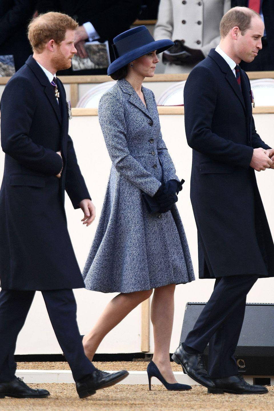 <p>In a Michael Kors coat dress with black gloves, almond-toe pumps and a brimmed hat while attending a service of commemoration in central London </p>