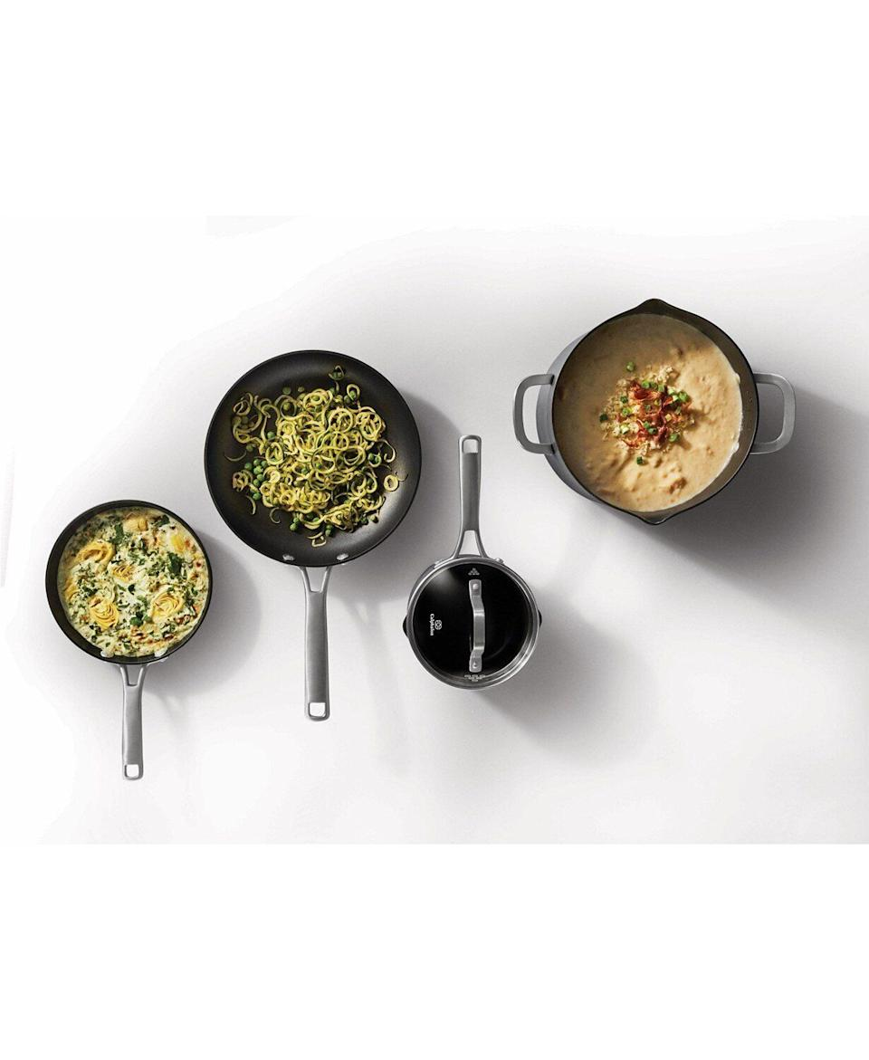 "The pots and pans in this cookware set have features like measuring marks, so you know how much water to boil, and pour spouts to make serving easier. The set comes with two fry pans, two sauce pans, a sauté pan and stock pot. Each pot and pan is made from a hard-anodized aluminum. <a href=""https://fave.co/35Kuv6m"" target=""_blank"" rel=""noopener noreferrer"">Originally $340, get the set now for $140 at Macy's</a>."