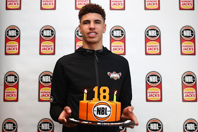 LaMelo Ball celebrated his 18th birthday at an Australian press conference. (Getty Images)