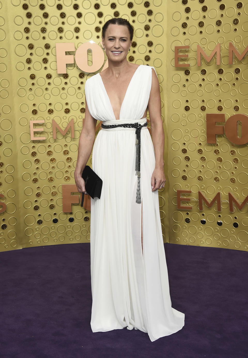 FILE - Robin Wright arrives at the 71st Primetime Emmy Awards on Sept. 22, 2019, in Los Angeles. Wright turns 55 on April 8. (Photo by Jordan Strauss/Invision/AP, File)