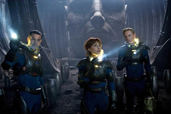 Logan Marshall-Green, Noomi Rapace, and Michael Fassbender in 2012's 'Prometheus' (20th Century Fox)