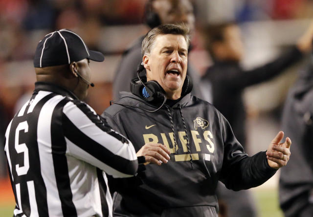 Colorado coach Mike MacIntyre reacts on the sideline during the first half of the team's NCAA college football game against Utah on Saturday, Nov. 25, 2017, in Salt Lake City. (AP Photo/Rick Bowmer)