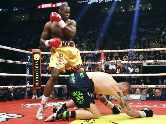 Adonis Stevenson last defended his light heavyweight belt against Poland's Andrzej Fonfara on June 3, 2017, in Montreal. (AP)