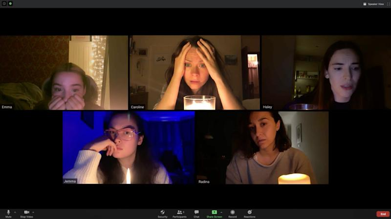 "A group of friends attend a seance over Zoom and the results are scary in the horror movie ""Host,"" filmed during quarantine."