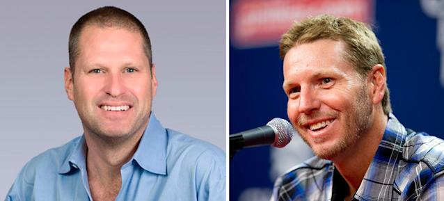 Boston radio host Michael Felger and MLB pitcher Roy Halladay, who died in a plane crash Tuesday. (CBS Boston/AP)