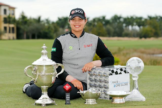 """<div class=""""caption""""> Ariya Jutanugarn poses with (left to right) the Rolex Player of the Year trophy, Leaders Top 10 Competition Trophy, Vare trophy, Rolex Annika Major award and the Race to the CME Globe trophy after the final round of the 2018 LPGA CME Group Tour Championship. </div> <cite class=""""credit"""">Michael Reaves/Getty Images</cite>"""