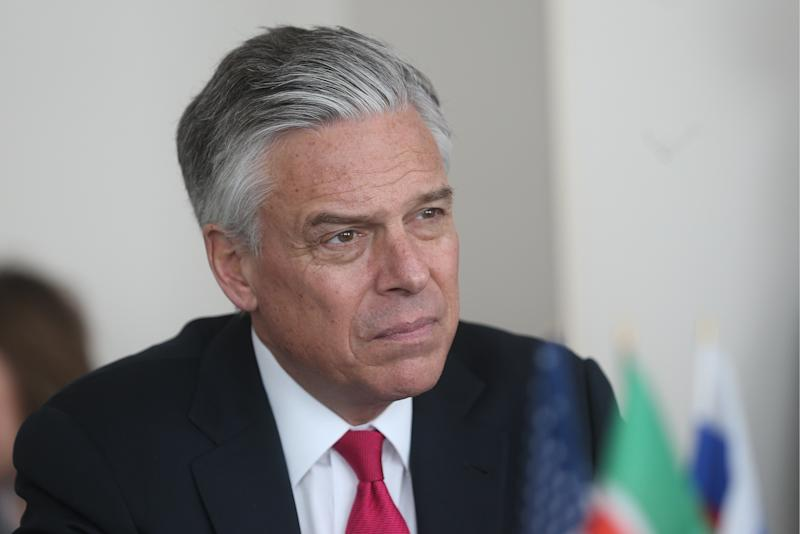 Days after U.S. Ambassador to Russia Jon Huntsman talked about needing to hold Moscow accountable for election interference, President Donald Trump failed to confront President Vladimir Putin. (Yegor Aleyev/Getty Images)