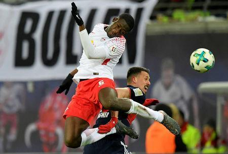 Soccer Football - Bundesliga - RB Leipzig vs Bayern Munich - Red Bull Arena, Leipzig, Germany - March 18, 2018 RB Leipzig's Ibrahima Konate in action with Bayern Munich's Sandro Wagner REUTERS/Matthias Rietschel