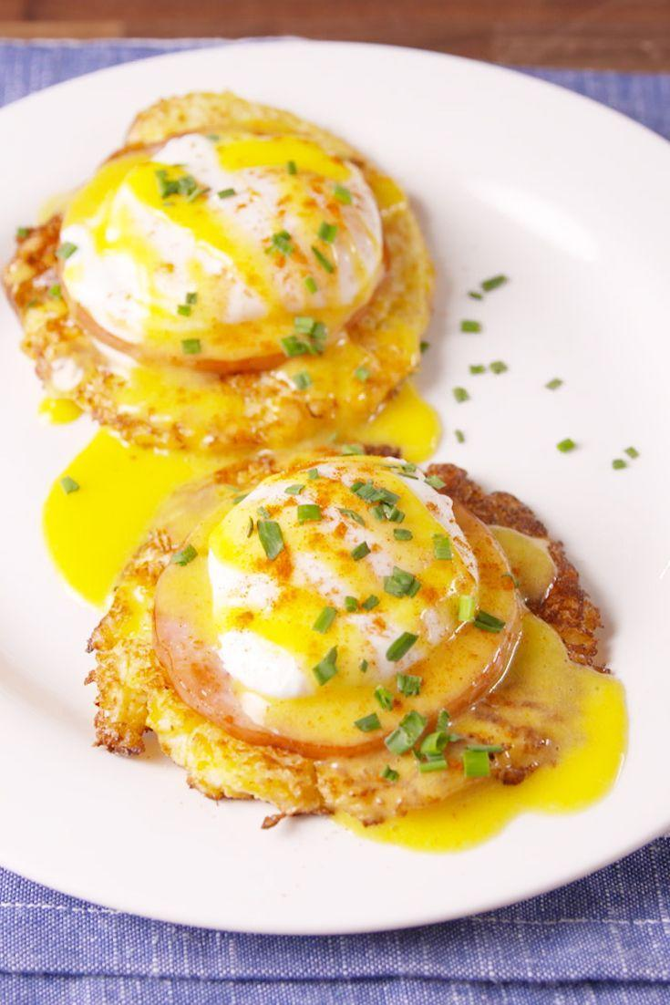 "<p>Cauliflower hash brown patties = #brunchgoals.</p><p>Get the recipe from <a href=""https://www.delish.com/cooking/recipes/a48799/cauliflower-benedict-recipe/"" rel=""nofollow noopener"" target=""_blank"" data-ylk=""slk:Delish"" class=""link rapid-noclick-resp"">Delish</a>. </p>"