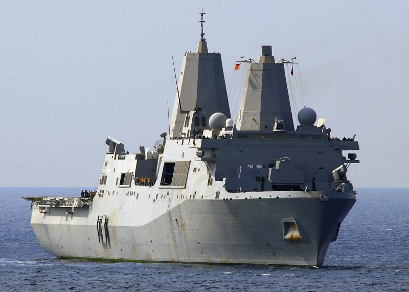 U.S. Navy handout shows amphibious transport dock ship USS San Antonio transiting through the Gulf of Oman