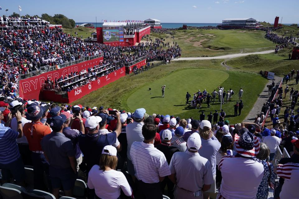 Team Europe's Rory McIlroy hits a drive on the first hole during a four-ball match the Ryder Cup at the Whistling Straits Golf Course Saturday, Sept. 25, 2021, in Sheboygan, Wis. (AP Photo/Ashley Landis)