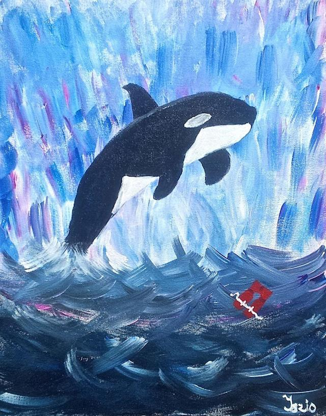 "<p>""Shamu Celebrates with Sushi"": The artist has portrayed the late Shamu the killer whale in midbreech after enjoying a sushi dinner. MOBA curators believe she is celebrating the news that SeaWorld will no longer present demeaning orca theatrical shows. (Photo: MOBA/Caters News) </p>"