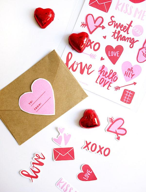 "<p>If you're just looking to spruce up a card you already have. Download <a href=""http://ohhappyday.com/2016/02/printable-valentine-stickers/"">these printables</a> from Oh Happy Day and print them out on adhesive paper. <i>(Photo: <a href=""http://ohhappyday.com/2016/02/printable-valentine-stickers/"">Oh Happy Day</a>)</i></p>"